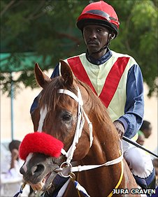 A jockey and his horse at the Sudanese Derby