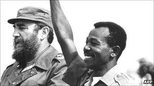 Haile Mariam Mengistu (r), with Fidel Castro