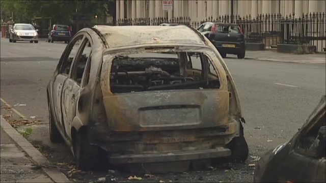 Burnt out car in south Liverpool