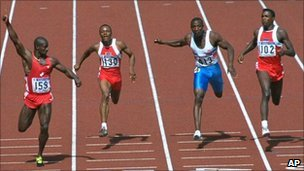 Ben Johnson wins the Men's 100 metres final at the Seoul Olympics in 1988