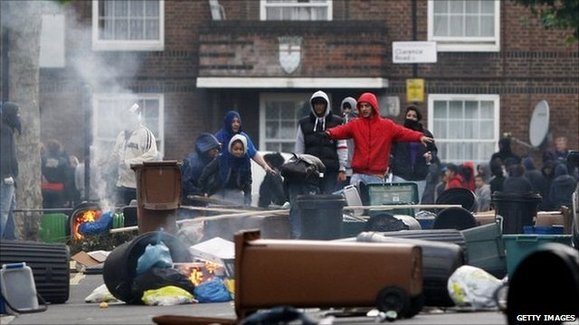Rioters in Hackney