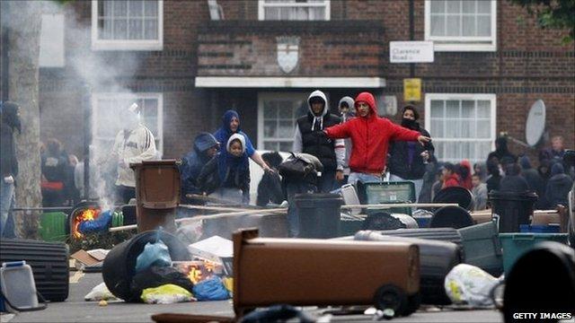 Rioters in Hackney
