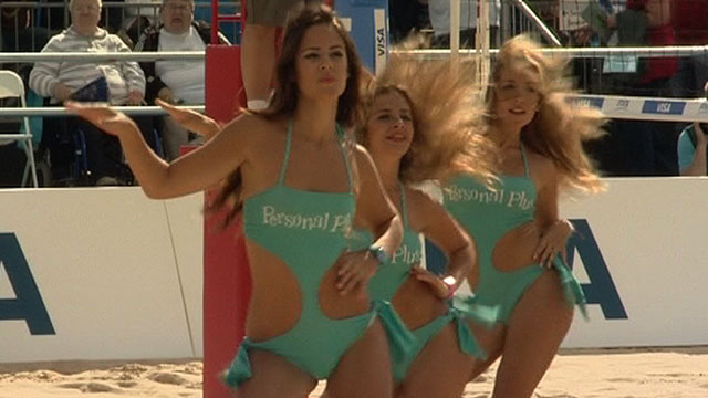 Dancers at the 2012 beach volleyball test event