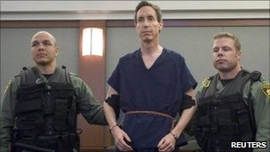 Police holding the arms of Warren Jeffs