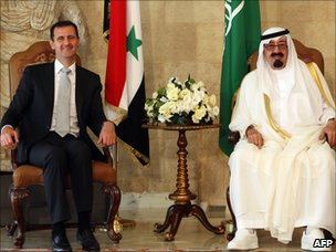 "Syrian President Bashar al-Assad (L) sits along side Saudi Arabia""s King Abdullah (C) in Beirut (30 July)"