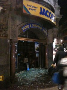 Damaged shop in Leicester