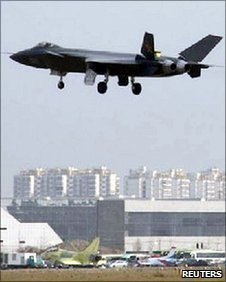 An undated picture what is reported to be a Chinese J-20 stealth fighter in flight in Chengdu, Sichuan province