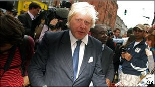 Boris Johnson in Clapham Junction on Tuesday
