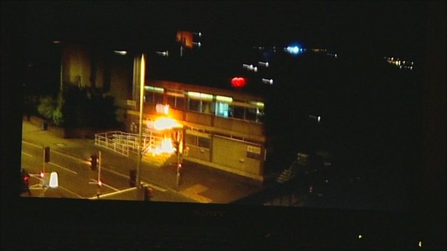 Canning Circus police station on fire after being attacked by youths. Mobile phone footage: Dan Neilson