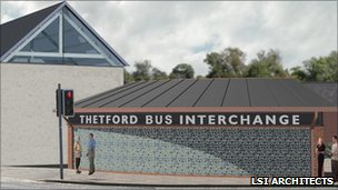 Artist interpretation of new Thetford bus station (detail) (Copyright: LSI Architects)