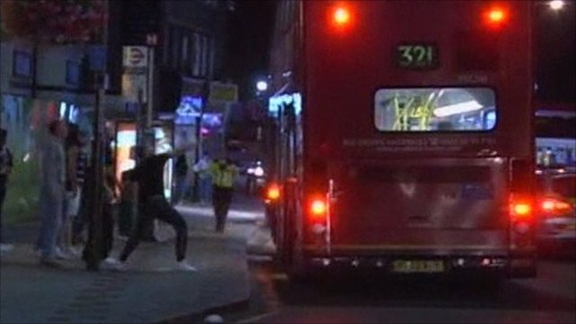 Man throws missile at bus
