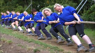 Bedford Ladies tug-of-war team