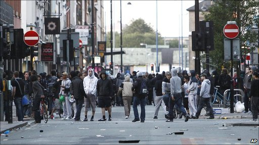 Youths gather on Oldham Street in Manchester