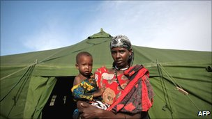 Woman and child at a shelter for Somalis displaced by the 2011 drought