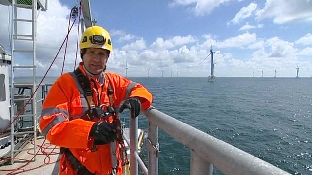 Science correspondent David Shukman heads out to the Irish Sea and begins his ascent of a towering wind turbine.