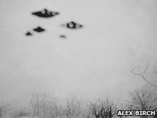 Alex Birch's photo showing a fleet of UFOs over Mosborough, near Sheffield, in March 1962