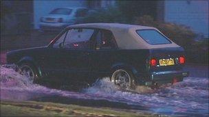 Car in flood water