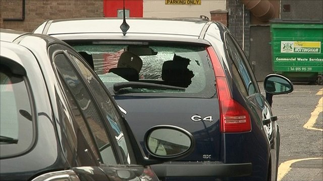 Broken window of a car on Holden Street in the Canning Circus area of Nottingham