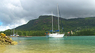 Yacht in the Seychelles