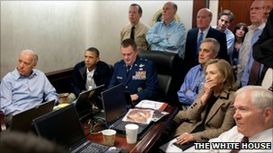 Mr Obama and other administration officials monitored the secret raid from the White House