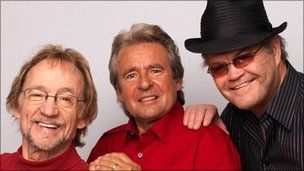 (L-R) Peter Tork, Davey Jones and Micky Dolenz of The Monkees