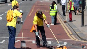 Volunteers help the clean-up effort in Croydon