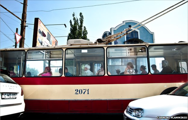 A bus in the centre of Chisinau, the capital