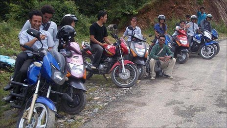 Student motorcyclists in Pokhara