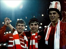 Neale Cooper (right) and Aberdeen team-mates celebrating victory in the European Cup Winners' Cup. Photo courtesy of Aberdeen FC