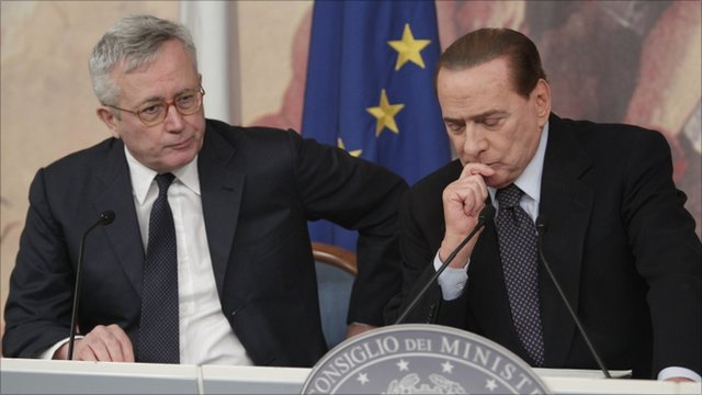 Italian premier Silvio Berlusconi, right, and Finance Minister Giulio Tremonti
