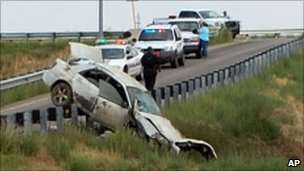 The car driven by three siblings after it crashed on a highway barrier in Walsenburg on 10 August 2011