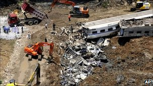 The wreck of the two trains are cleared
