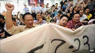 Victims' relatives at a protest in Wenzhou