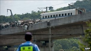 File picture of wreckage of two high-speed trains in Wenzhou, taken on 24 July 2011