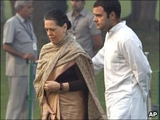 Sonia Gandhi with son Rahul Gandhi