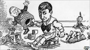 William Randolph Hearst portrayed as a spoilt child threatening to break his doll in a 1930 cartoon