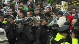 Protesters clashed with police on Shipquay Street