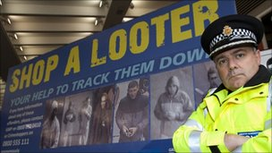 A shop a looter poster issued by police in Manchester 
