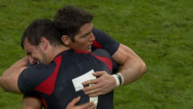 Captain Sam Warburton & James Hook celebrate victory over England