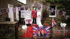 Scarecrows dressed as Prince William, Duke of Cambridge and Catherine, Duchess of Cambridge