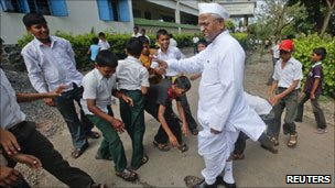 Anna Hazare at a school in Ralegan Siddhi