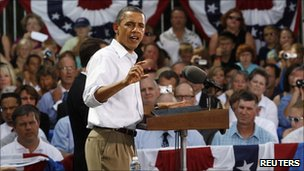 Mr Obama addresses voters in Minnesota