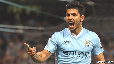 Sergio Aguero scored twice on his Man City debut