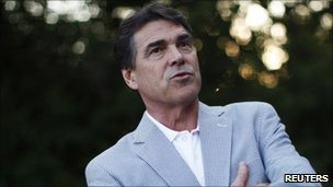 Republican presidential candidate Texas Governor Rick Perry in Cedar Rapids, Iowa, on 15 August 2011