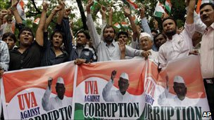 Mr Hazare's supporters fighting against corruption
