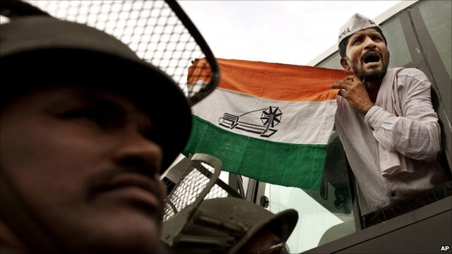 Hazare supporter waving flag