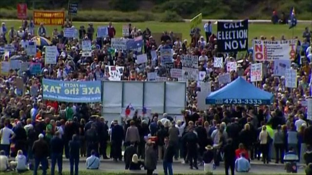 Protesters in Canberra