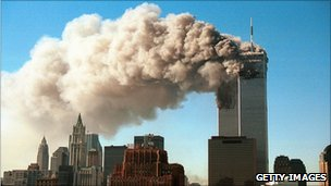 The World Trade Center after the planes hit
