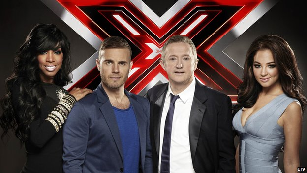 X Factor judges, L-R: Kelly Rowland, Gary Barlow, Louis Walsh and Tulisa Contostavlos