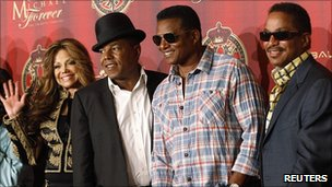 Jackson family members at concert announcement (left-right): La Toya, Tito, Jackie and Marlon